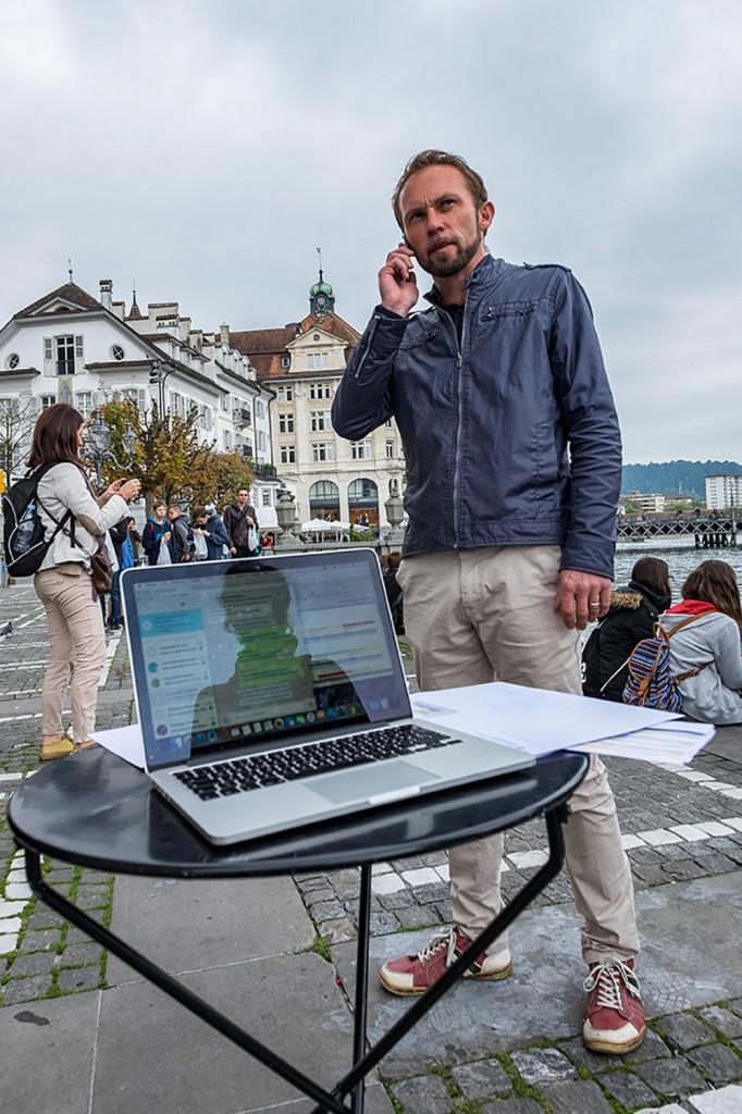 Projektleiter Viktor Diethelm vor dem Start zum Churchtrail. | © 2015 Roberto Conciatori