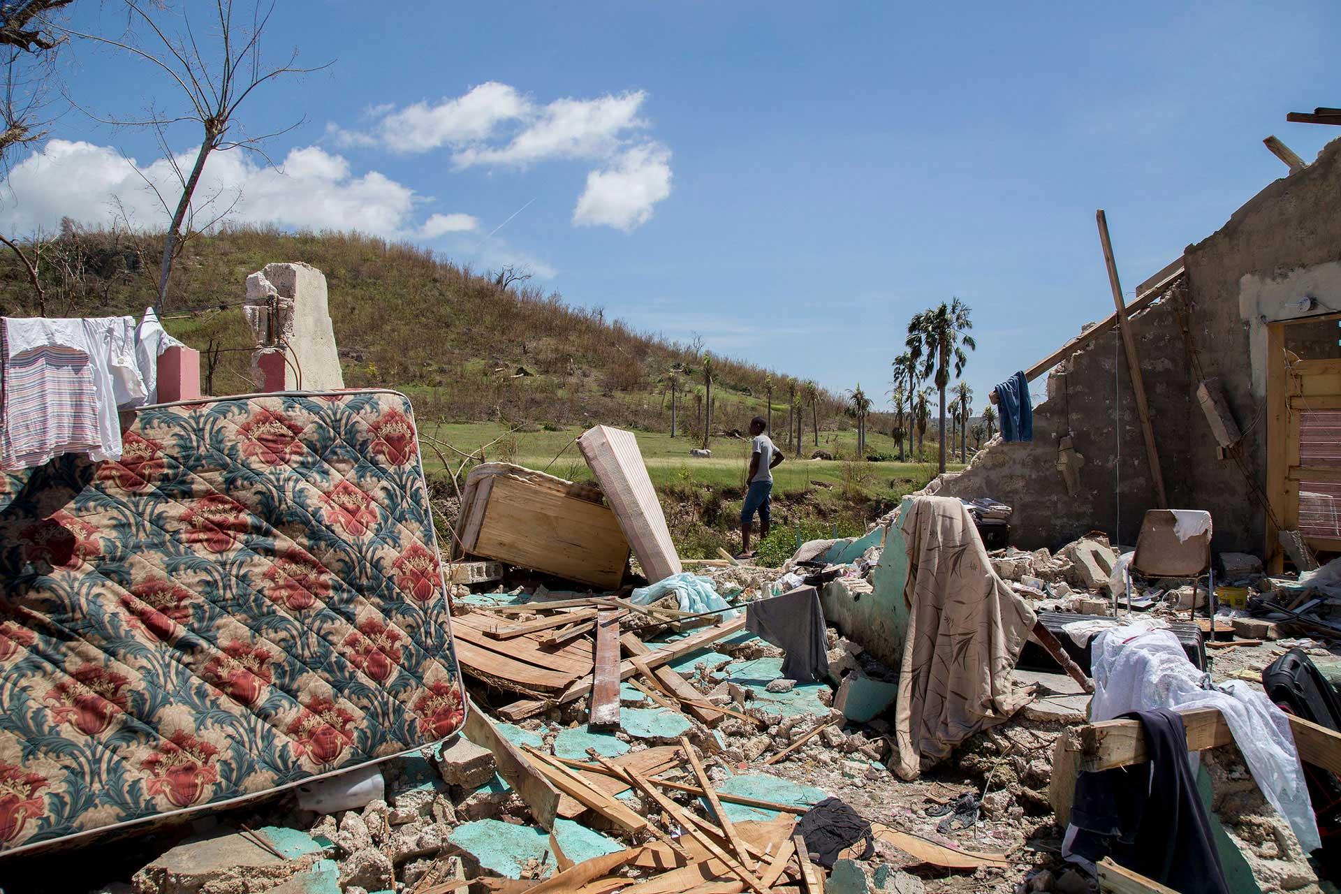 Ein Junge in der vom Hurrikan zerstörten Gegend der Stadt Port-Salut, Haiti. | © 2016 Caritas Schweiz / www.flickr.com/photos/caritas_ch