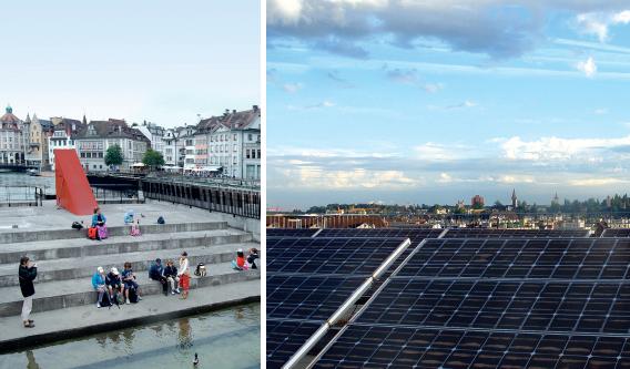 Das Wasserkraftwerk am Mühleplatz Luzern und die Fotovoltaikanlage auf der Dachterasse des EWL-Betriebsgebäudes. Die Landeskirche stellt 2017 auf Wasserstrom (2/3) und Solarstrom (1/3) um. | © 2016 EWL