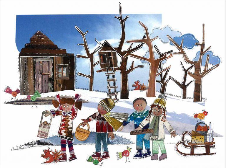 Vier Freunde und eine Idee: Anna, Peter, Felix und Lisa auf dem Weg zur Waldhütte, in der die Flüchtlingsfamilie lebt, die sie heimlich unterstützen - eine der Illustrationen aus dem «Blinzuelengel»-Buch. | © 2016  Tania Piscioli