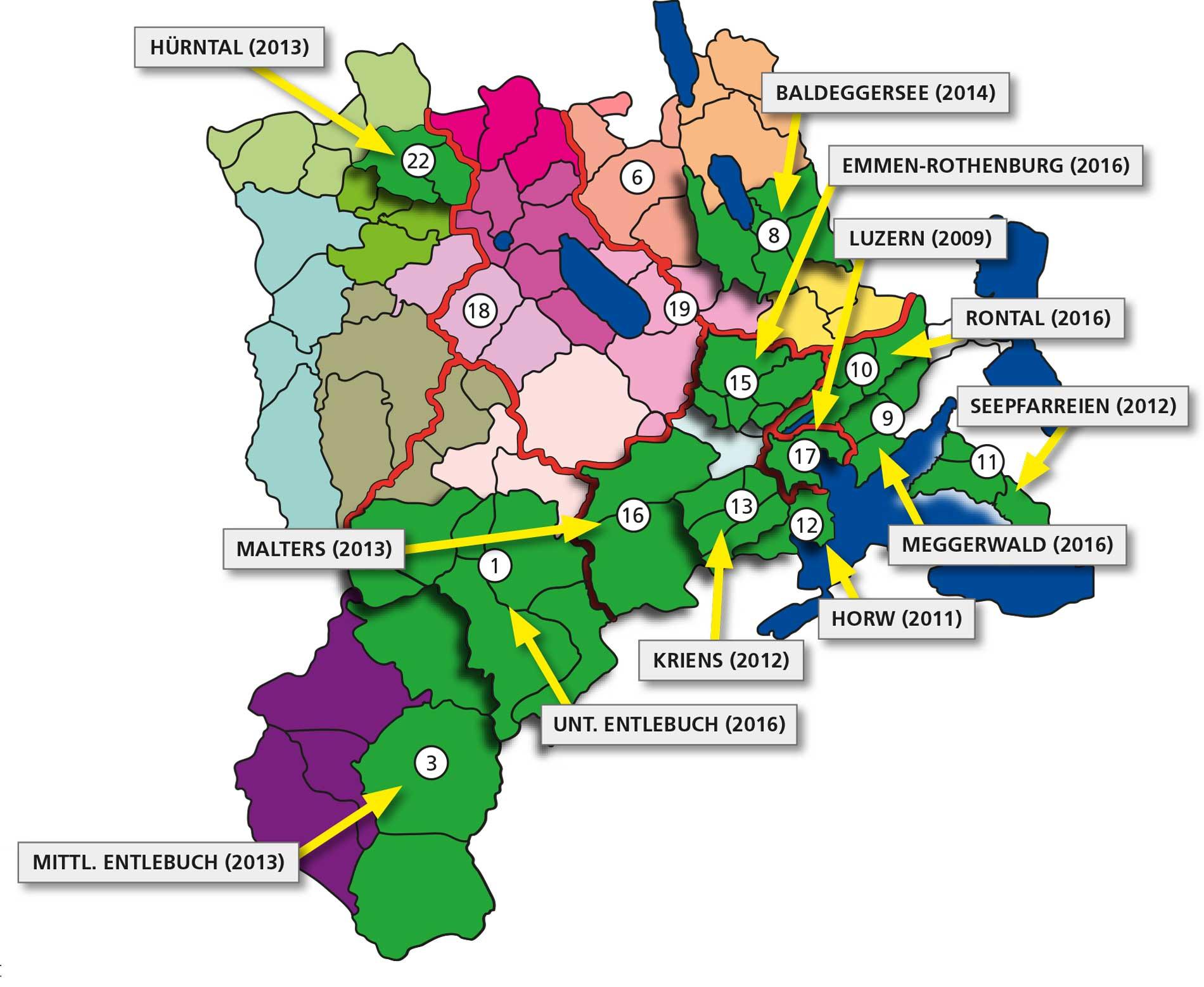 Für den Kanton Luzern sind 25 Pastoralräume vorgesehen. Grün markiert sind die bereits errichteten.   © Grafik do