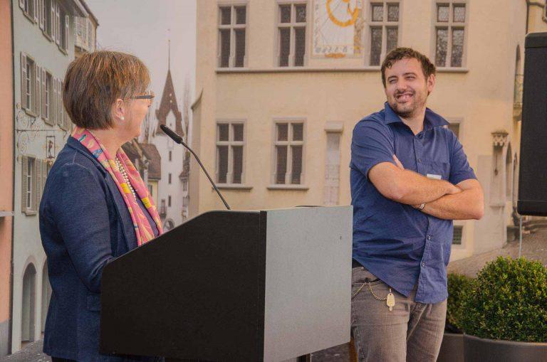 Synodalratspräsidentin Renata Asal-Steger und Musiker Daniel Fürer.