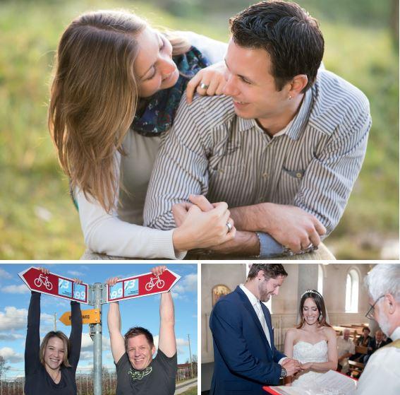 Drei von fünf Paaren, die sich für die Bebilderung des Portals www.kirchlich-heiraten.lu zur Verfügung gestellt haben. | © zvg