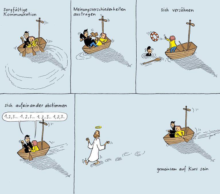 Nur im Miteinander kommt das (Kirchen-)Schiff voran: Wie Cartoonist Jonas Brühwiler das duale System sieht. | © 2017 www.jonas-comics.ch