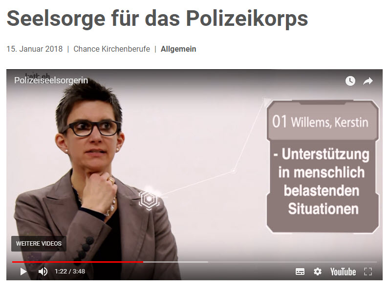 Die Zürcher Polizeiseelsorgerin Kerstin Willems im Video von kath.ch | © 2018 Screenshot