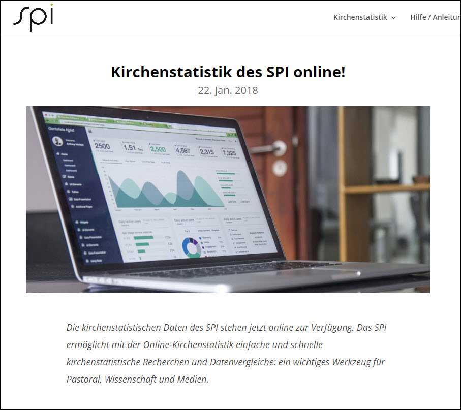 Kirchenstatistische Daten sind neu online über eine Website des Schweizerischen Pastoralsoziologischen Instituts (SPI) abrufbar. | Bildschirmfoto