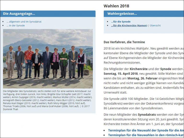Die Kirchgemeindewahlen 2018  sind mit Ausnahme von Ufhusen abgeschlossen.| © 2018 Screenshot lukath.ch