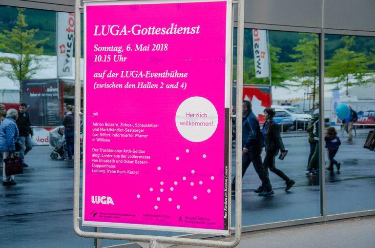 Nicht vergessen: Am Sonntag, 6. Mai, ist LUGA-Gottesdienst auf der grossen Bühne., | © 2018 Gregor Gander