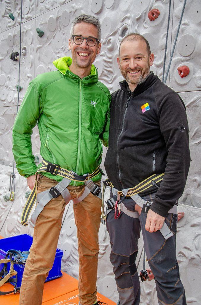 Vor dem Aufstieg: Matthias Bättig (links), gesichert von Stefano Sommaruga. | © 2018 Domnik Thali