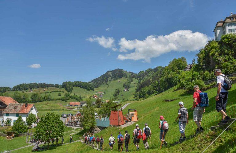 Die Fusspilger unterwegs auf der Wallfahrt 2018, kurz nach Sattel, auf dem Weg zur Kapelle St. Jost. | © 2018 Benedikt Troxler