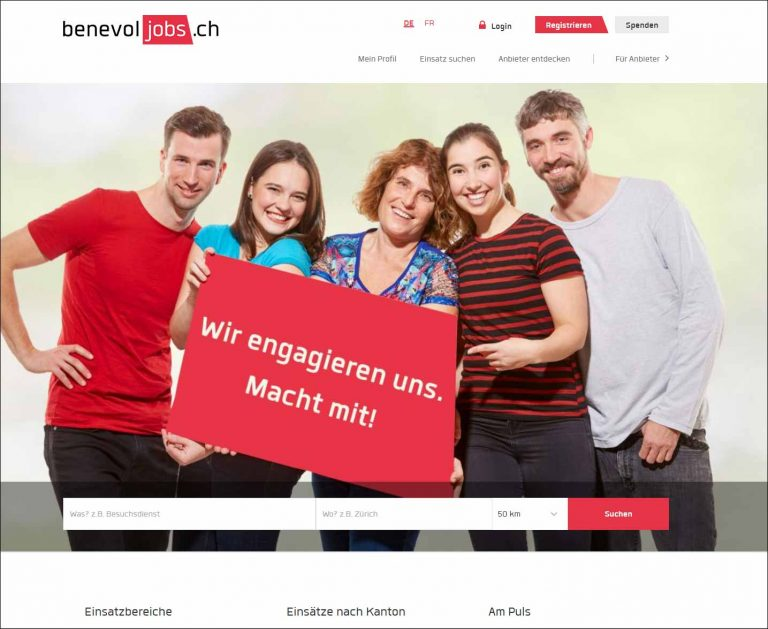 Bild: Screenshot von benevol-jobs.ch