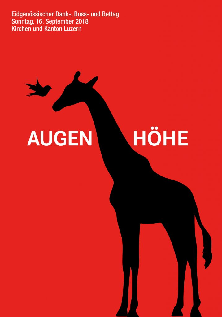 Das Plakat zur Bettagsaktion 2018; wiederum gestaltet vonm Luzerner Grafiker Claudius Bisig (www.grafikcontainer.ch).