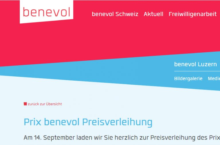 Screenshot der Benevol-Webseite benevol.ch
