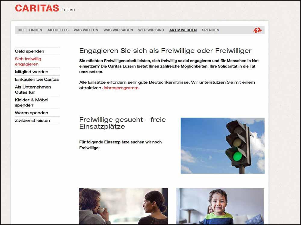 Bildschirmaufnahme caritas-luzern.ch/fw (26.11.2018)