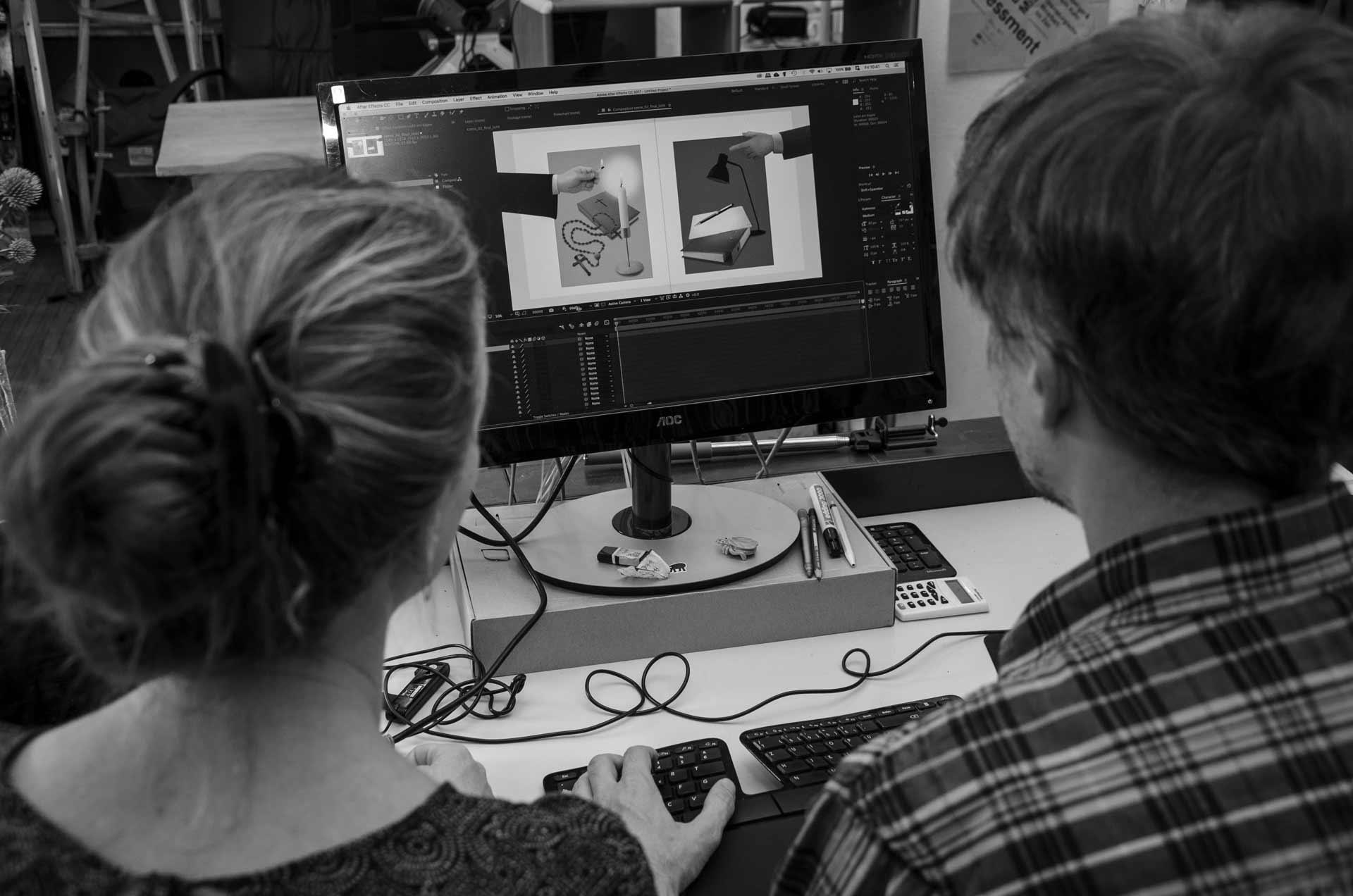 Ein Film entsteht – Blick über die Schultern von Antonia Meile und Nils Hedinger im Atelier in Luzern. | © 2018 Fleur Budry