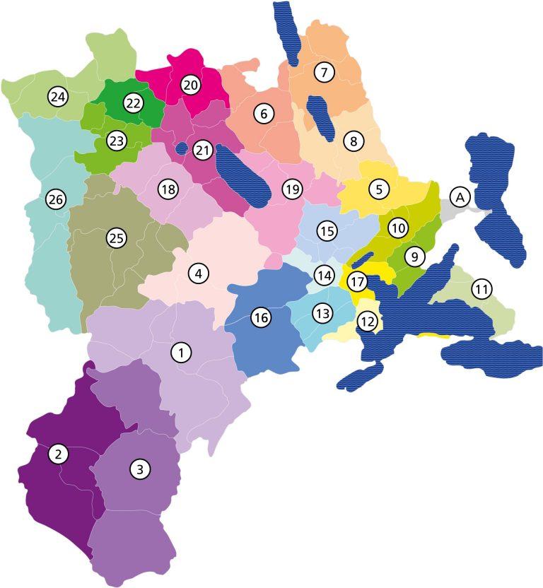 Aus den 100 Luzerner Pfarreien sollen 26 Pastoralräume entstehen. Die Luzerner Pfarrei Meierskappel (A) gehört zum Pastoralraum Zugersee Südwest.