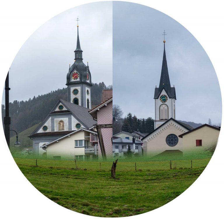 Die Pfarrkirchen von Dagmersellen (links) und Uffikon-Buchs. Die Fusion der beiden Kirchgemeinden würde die Verwaltung vereinfachen, auf das Pfarreileben hätte dies keinen Einfluss. |   © 2019 Gregor Gander