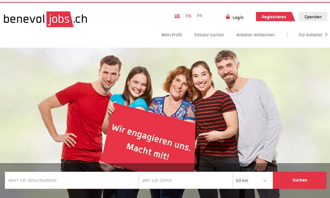Printscreen von benevol-jobs.ch