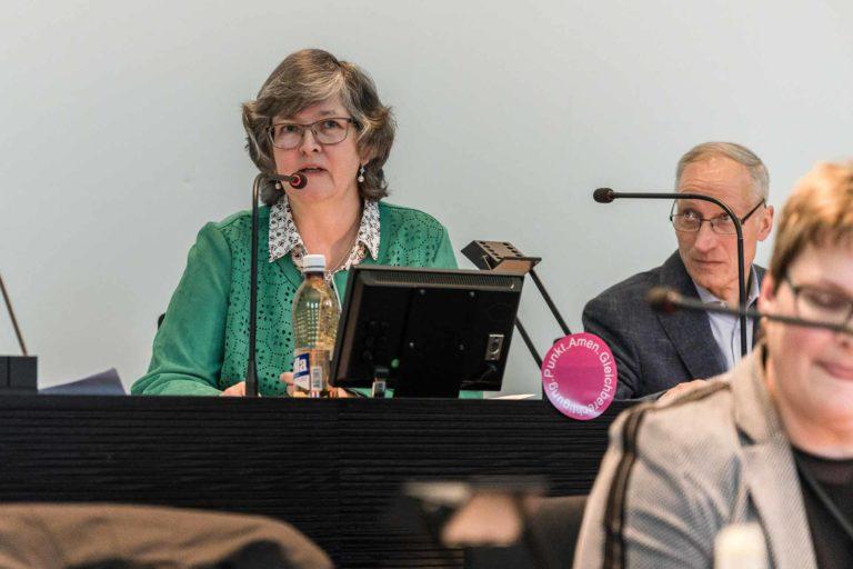 Synodepräsidentin Ursula Hüsler (Kriens), Vizepräsident Martin Barmettler (Willisau). | © 2019 Roberto Conciatori