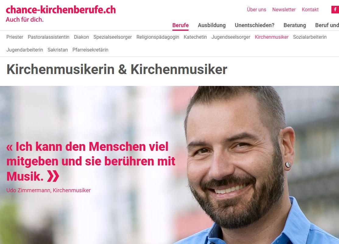 Printscreen der Webseite chance-kirchenberufe.ch vom 3. September 2019.