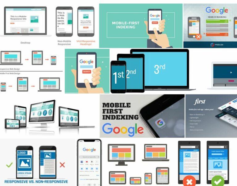 Eine Website, die nicht auf Mobilgeräte ausgerichtet ist, wird von Google kaum mehr gefunden. | Bildschirmaufnahme von  Google-Suchergebnissen auf die Stichworte «google responsive mobile first»