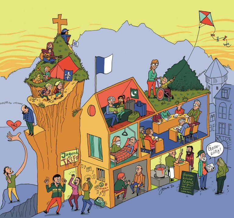 Das grosse Haus Kirche hat viele Zimmer, ganz unterschiedliche Bewohnerinnen und Bewohner und strotz vor buntem Leben. | © 2020 Cartoon Jonas Brühwiler | © Jonas Brühwiler