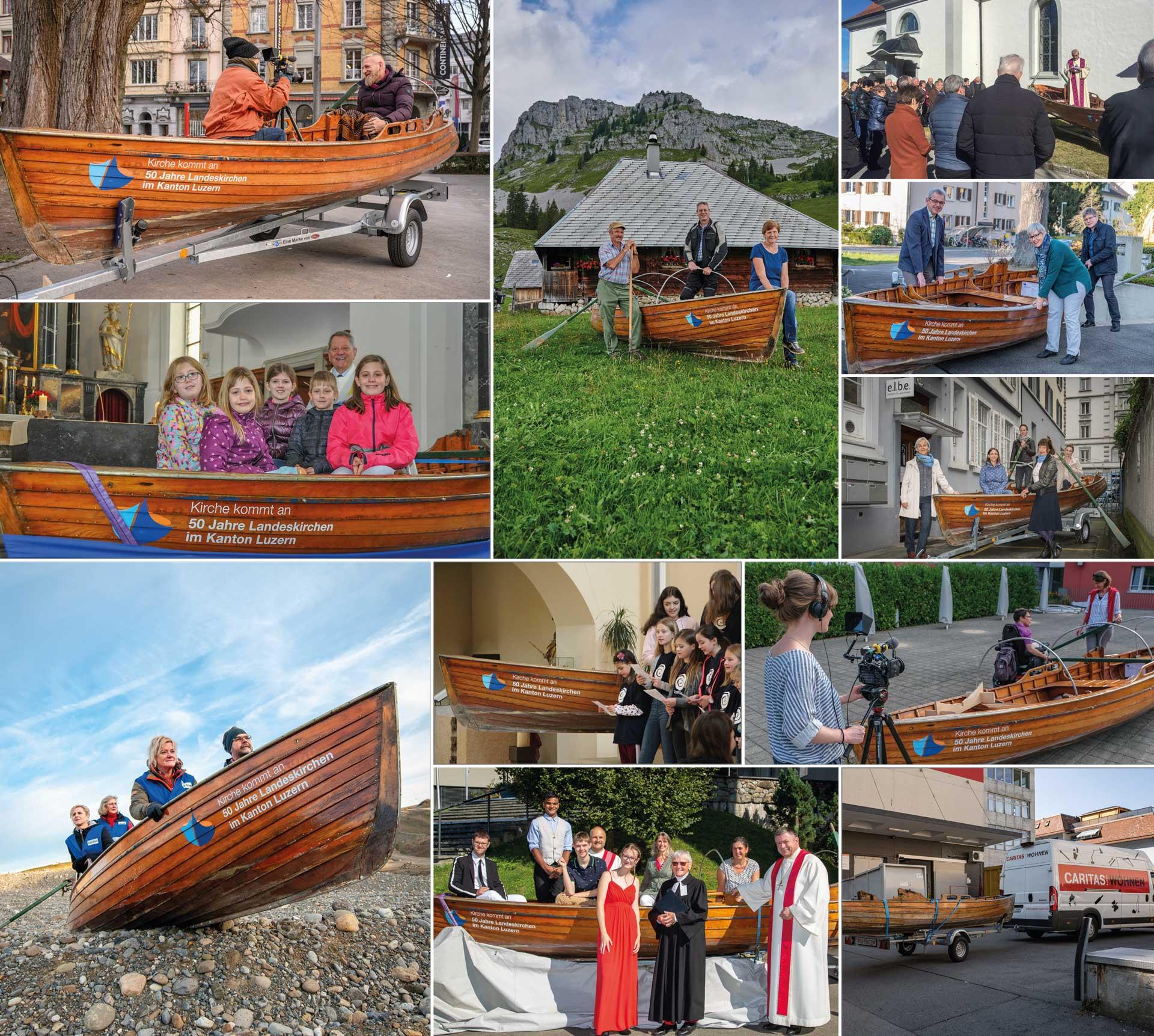Ein buntes, lebendiges Jubiläumsjahr war's - trotz allem: Bilder von Bootschafterinnen- und Boot-Schafter-Terminen aus dem vergangenen Jahr. | © Kirche kommt an