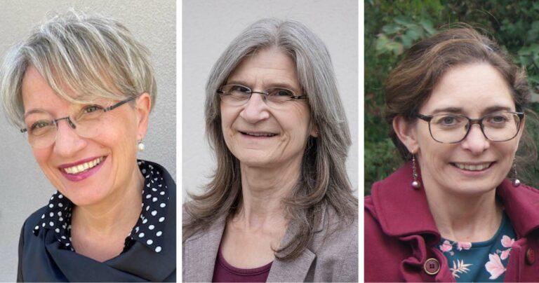 Karin Wandeler (links) und Nana Amstad (Mitte) kandidieren für den Synodalrat, Susan Schärli wird als neue Vizepräsidentin der Synode vorgeschlagen. | © 2021 zVg, Dominik Thali